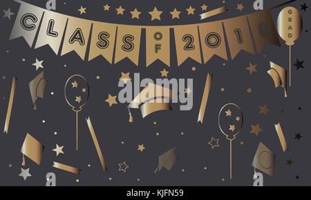 L'obtention du diplôme dans l'or de l'affiche sur mauve. vector illustration Banque D'Images