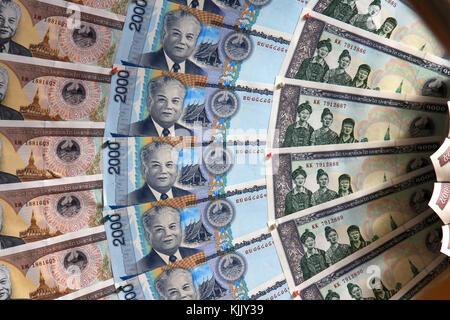 Billets de banque. L'épargne. Le Laos. Banque D'Images