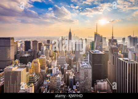 New York, New York, États-Unis d'horizon. Banque D'Images