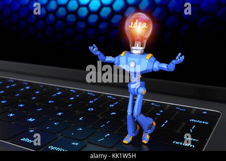 Petit robot debout sur clavier. 3d illustration Banque D'Images