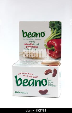 Beano tablets prévenir gaz avec enzymes naturels qui décomposent les glucides complexes contenus dans les aliments. Banque D'Images