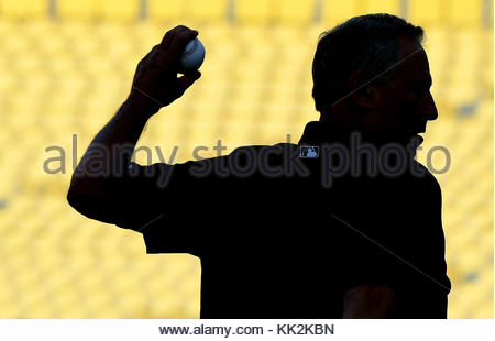 Los Angeles, Californie, USA. Sep 8, 2017. Rockies du Colorado manager Bud Black de la Ligue majeure de baseball pendant un match contre les Dodgers de Los Angeles au Dodger Stadium le Jeudi, Septembre 07, 2017 à Los Angeles. Credit: Keith Birmingham/SCNG/ZUMA/Alamy Fil Live News Banque D'Images