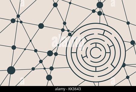 Labyrinthe circulaire noir sur un fond blanc Banque D'Images