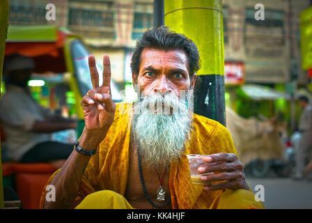 Varanasi (Benares) où les gens viennent mourir EN INDE coup d'œil - 07/09/2010 - Inde / Benares - Sadhu de Benares Banque D'Images