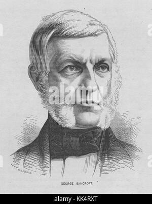 Portrait gravé de George Bancroft, 17e secrétaire de la marine, il a établi la united states Naval Academy à Annapolis Banque D'Images