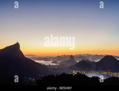Cityscape de Vista Chinesa à l'aube, Rio de Janeiro, Brésil Banque D'Images