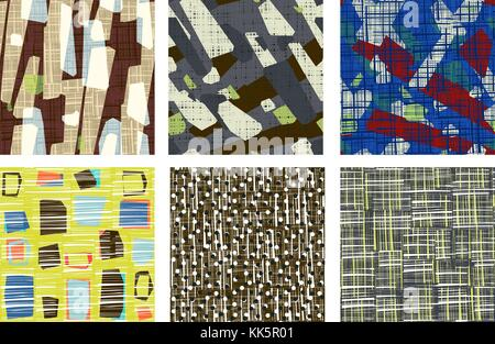 Abstract pattern set transparente. grunge texture background aléatoire de bandes rayées et des formes géométriques Banque D'Images