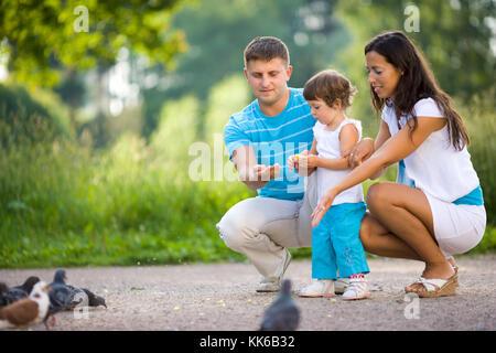 L'alimentation de la famille heureux pigeons dans parc d'été