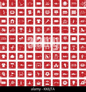 Aire 100 icons set rouge grunge Banque D'Images