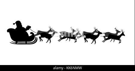 Silhouette noire du traîneau du Père Noël isolé sur fond blanc. Illustration vectorielle, icône, clip art. Banque D'Images