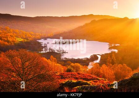 Rydal Water au lever du soleil, Lake District, UK. Vue surélevée donnant sur le magnifique lac et paysage d'automne Banque D'Images