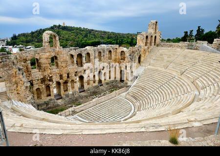 Amphithéâtre en plein air Odéon d'Hérode Atticus (construit 161AD, restauré en 1950), l'acropole d'Athènes. Utilisé Banque D'Images