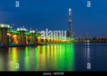 La ville de Séoul et lotte tower ,la Corée du Sud. Banque D'Images