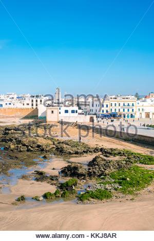 Le Maroc, Marrakesh-Safi Marrakesh-Tensift-El Haouz (région), Essaouira. Medina vieille ville, protégés par le front Banque D'Images