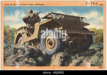 Jeep en action à Fort Custer, au Michigan Banque D'Images
