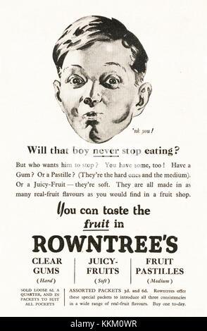 1935 Magazine BRITANNIQUE Rowntree's Gum & Publicité Pastilles Banque D'Images