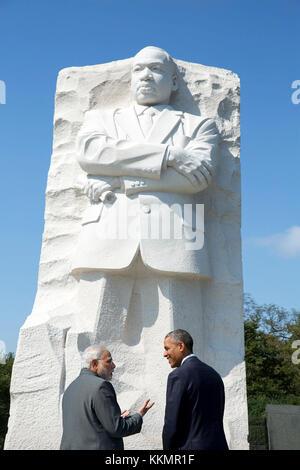Le président Barack Obama et le premier ministre narendra modi de l'Inde visite la Martin Luther King, jr. sur Memorial Banque D'Images