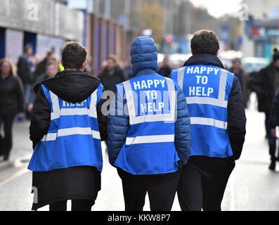 Everton à l'extérieur de la terre, devant la Premier League match à Goodison Park, Liverpool. ASSOCIATION DE PRESSE Photo Photo date: Samedi 2 Décembre 2017