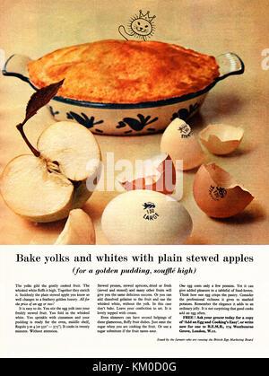Une publicité pour les oeufs émis par le British Office de commercialisation des oeufs. Il est apparu dans un magazine Banque D'Images