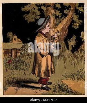 Une illustration couleur victorienne montrant un garçon 'la nidification des oiseaux' la collecte des œufs des oiseaux Banque D'Images