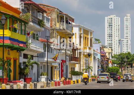 Maisons colorées dans le quartier getsemaní | Cartagena de Indias | Colombie Banque D'Images