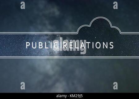 RELATIONS PUBLIQUES mot Concept cloud. Arrière-plan de l'espace. Banque D'Images