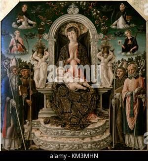 Bartolomeo vivarini (1432-1491). Peintre italien. vierge à l'enfant avec saint Augustin, saint Roch, saint Louis Banque D'Images
