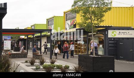Re:start est le nom du conteneur mall de Christchurch, qui a été construit quelques mois après le séisme de conteneurs Banque D'Images