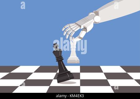 Robot jouant aux échecs et mat. L'intelligence artificielle surpasse le cerveau humain. Banque D'Images