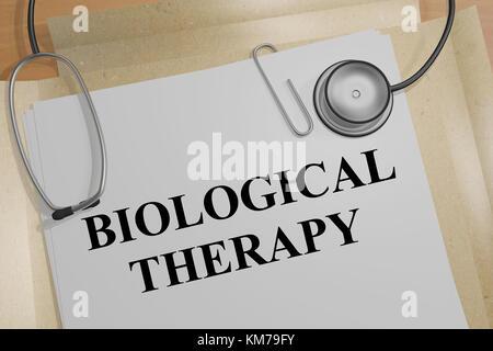 3d illustration de 'thérapie biologique' titre sur un document médical Banque D'Images