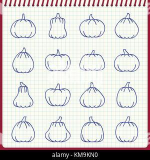 Halloween citrouille line icon set. Effet de plume manuscrite sur fond à carreaux. Vector illustration style plat. Banque D'Images