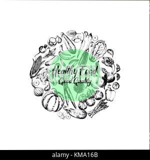 Jeu de croquis dessinés à la main, des légumes. vector illustration isolé sur fond blanc. Banque D'Images