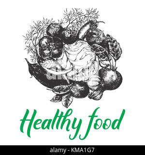 Croquis dessinés à la main des légumes style. vector illustration isolé sur fond blanc. Banque D'Images