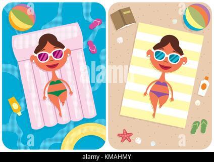 2 illustrations représentant cartoon girl en vacances. Banque D'Images