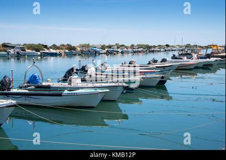 Petits bateaux de pêche amarrés le long du rivage dans Fuseta sur la Ria Formosa, le Portugal.