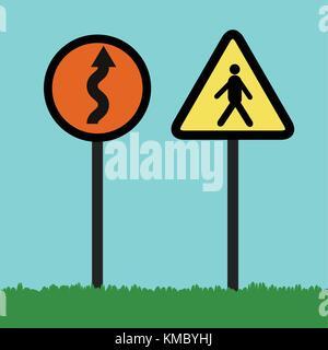 Télévision la signalisation flèche courbe sur cet article à l'illustration d'un cercle orange label et silhouette homme marche dans le triangle de l'étiquette sur l'herbe et le fond de ciel