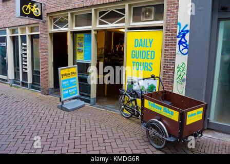 Yellow Bike, location de vélos et de vélos tour company, Amsterdam, Pays-Bas Banque D'Images