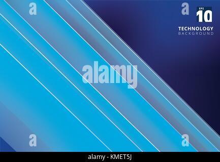 Abstract blue image qui illustre la technologie avec chevauchement des lignes diagonales. Vector illustration Banque D'Images