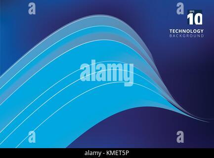 Abstract blue image qui illustre la technologie avec chevauchement des lignes courbes. Vector illustration Banque D'Images