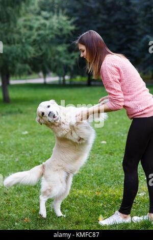 Image de girl holding dog de pattes avant sur pelouse verte Banque D'Images