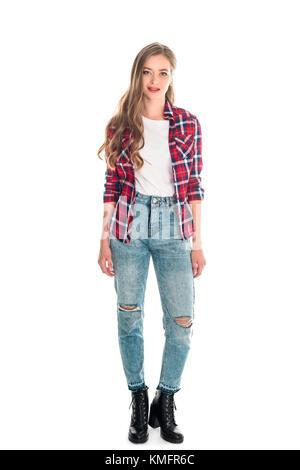 ... avec un style) · Fille en jeans et chemise à carreaux Banque D Images 9c612d0434a