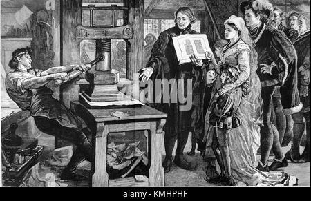 La célébration - William Caxton caxton montrant des spécimens de son impression sur le roi Édouard iv et de la reine Banque D'Images