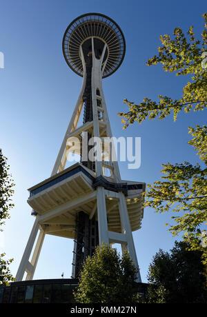 La tour d'observation Space Needle de Seattle, Washington State, USA Banque D'Images
