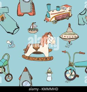 Bébé, jouets pour enfants hand drawn seamless pattern. skeched éléments éléments doodle train, vélo, cheval, rocket Banque D'Images