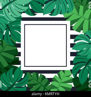 Jungle tropical exotique châssis avec palmier monstera et laisse place à l'arrière-plan des bandes de texte Banque D'Images