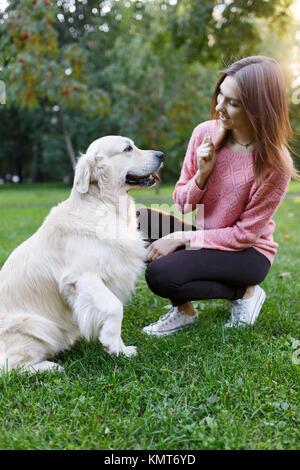 Photo de femme avec chien sur pelouse au parc d'été