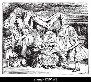 Alice au Pays des Merveilles Cook, duchesse, Cheshire Cat, bébé, et Alice duchesse est assis sur un tabouret à trois Banque D'Images