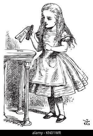 Alice au Pays des Merveilles Drink me Alice est prise d'une petite bouteille sur la table, qui a une étiquette que Banque D'Images