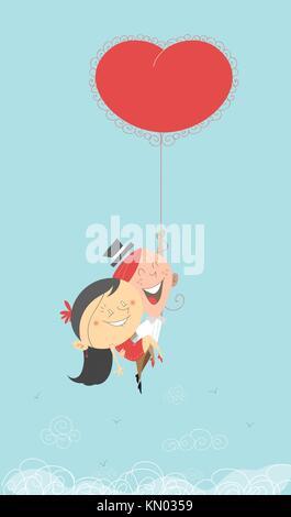 Une Saint-valentin romantique du retro illustration d'un homme et femme volant dans le ciel, le paradis de la tenue Banque D'Images