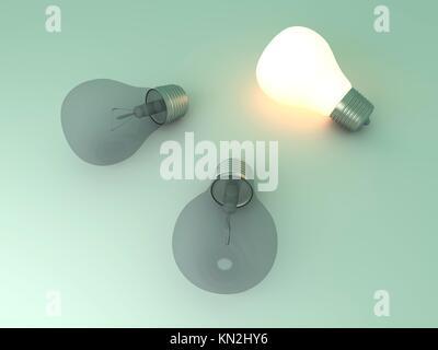 Lumière brillante et une lampe témoin entre autres rendus 3D Illustration Banque D'Images